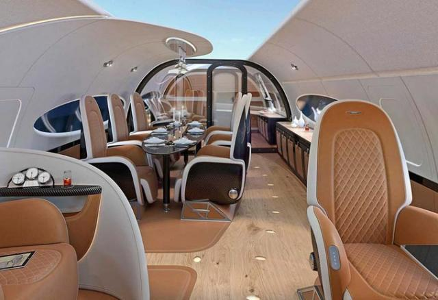 photos voici l incroyable int rieur du jet priv d airbus avec toit panoramique planet. Black Bedroom Furniture Sets. Home Design Ideas